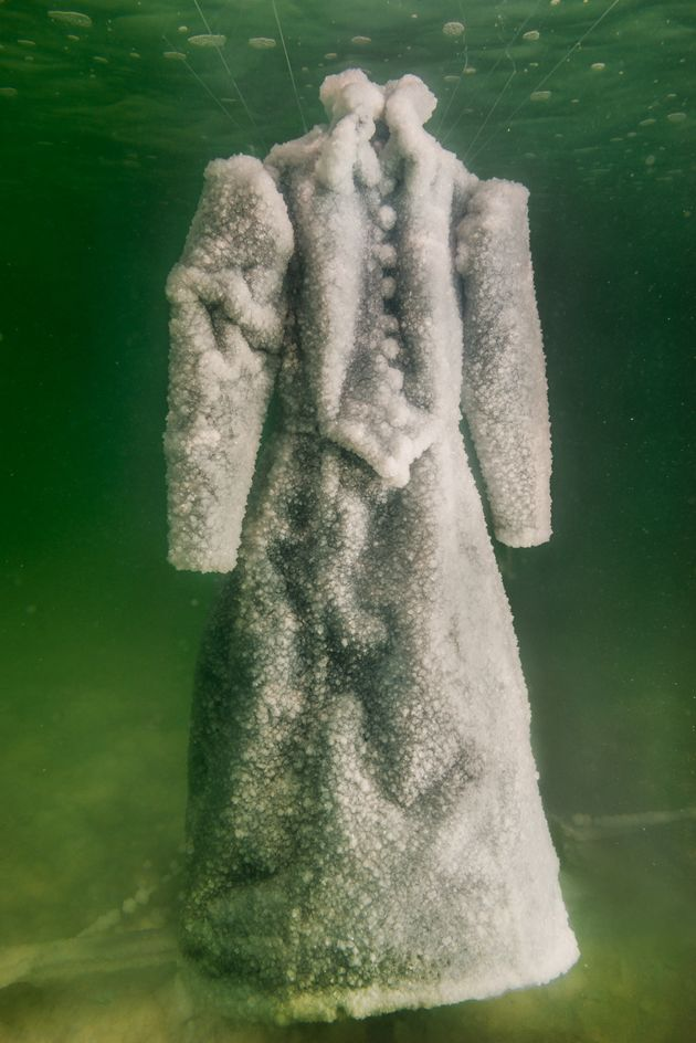 The dress covered in crystallized