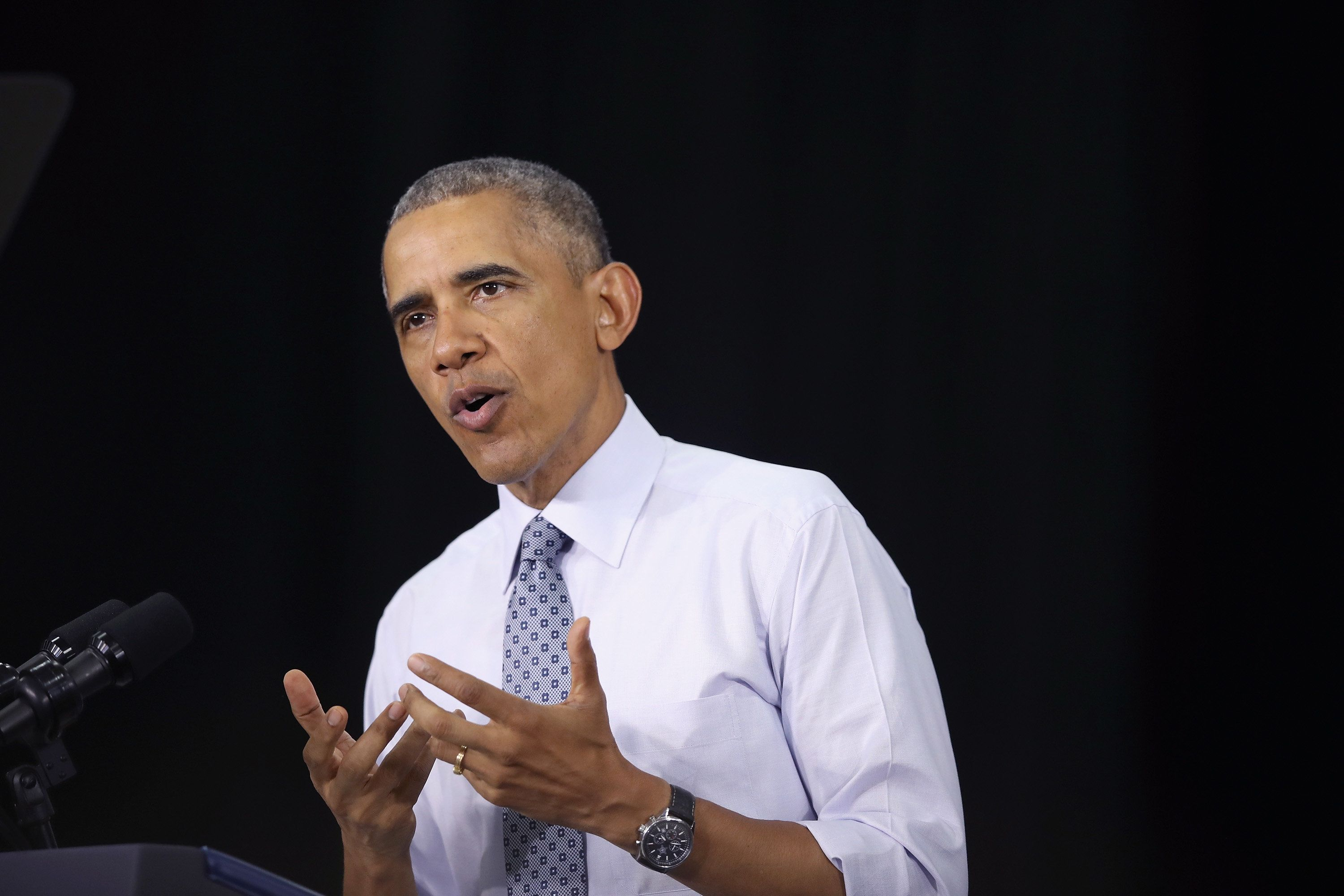ELKHART, IN - JUNE 01:  President Barack Obama speaks at Concord Community High School on June 1, 2016 in Elkhart, Indiana. Obama returned to the school, which he visited more than seven years ago, to highlight economic progress made during his administration.  (Photo by Scott Olson/Getty Images)