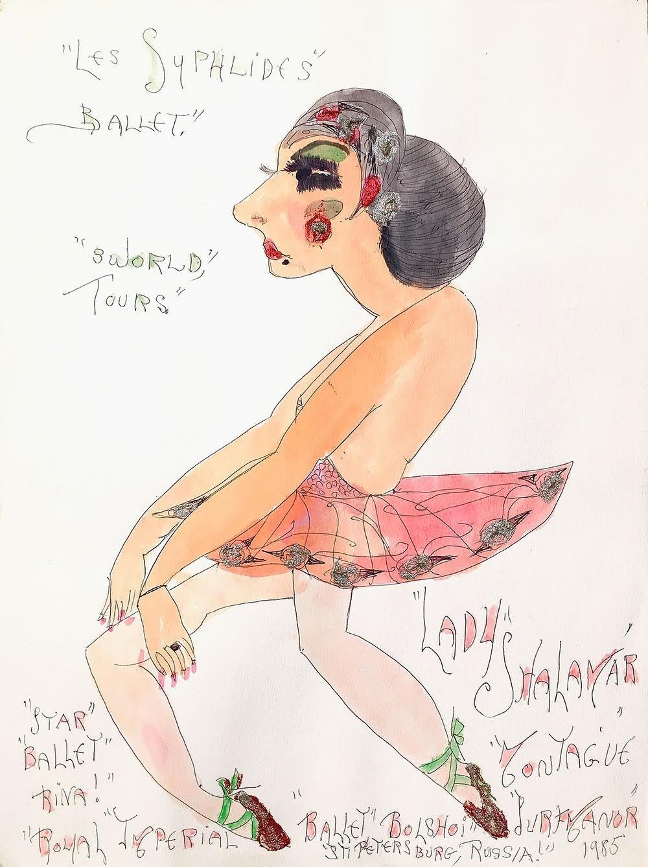 "Lady Shalimar Frances Montague, ""Les Sylphildes Ballet 3 World Tours Star Balletrina"" 1985 watercolor ballpoint glitter on pa"