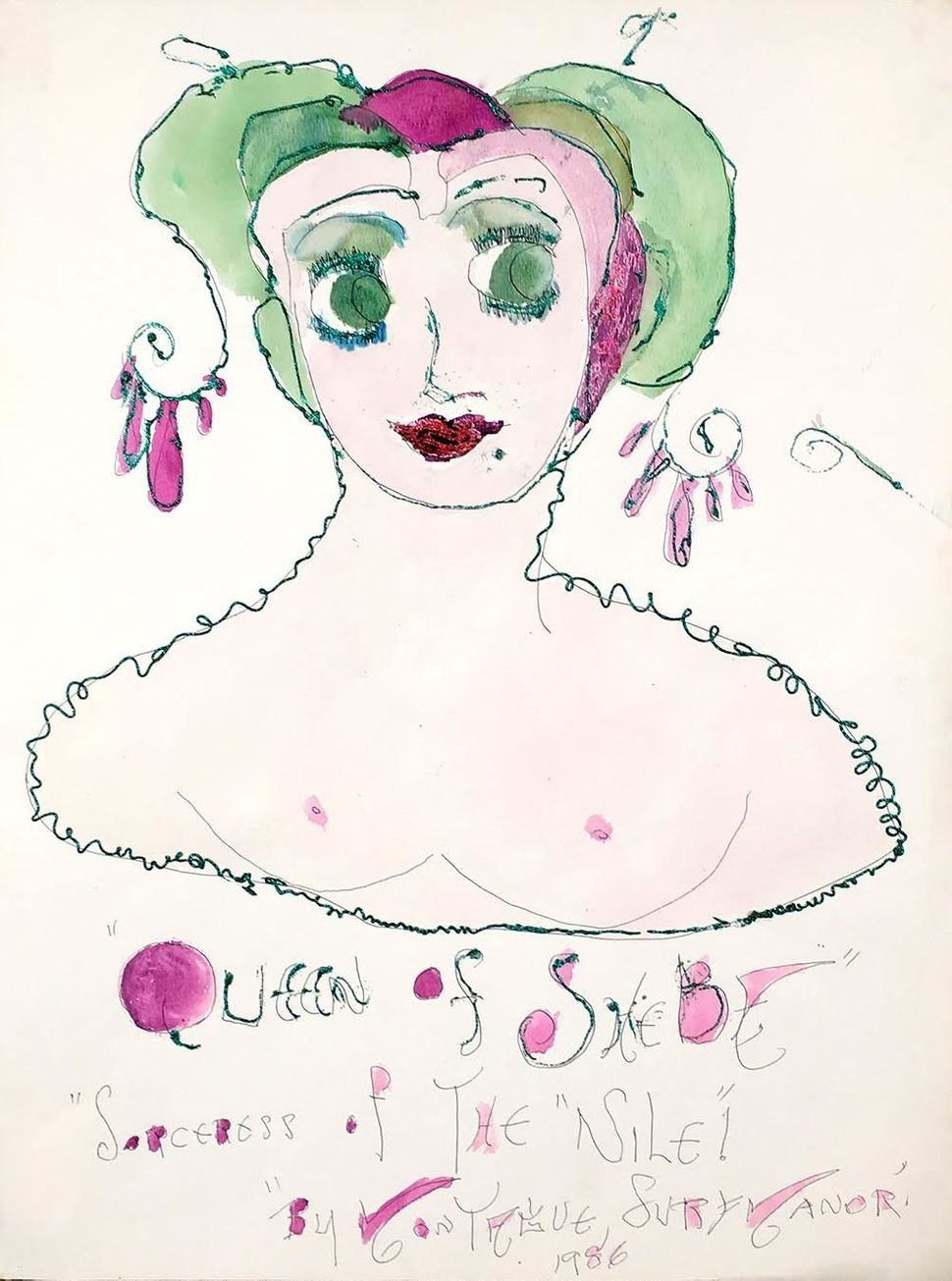 "Lady Shalimar Frances Montague, ""Queen of Sheba Sorceress of The Nile"" 1986 watercolor ballpoint glitter on paper"