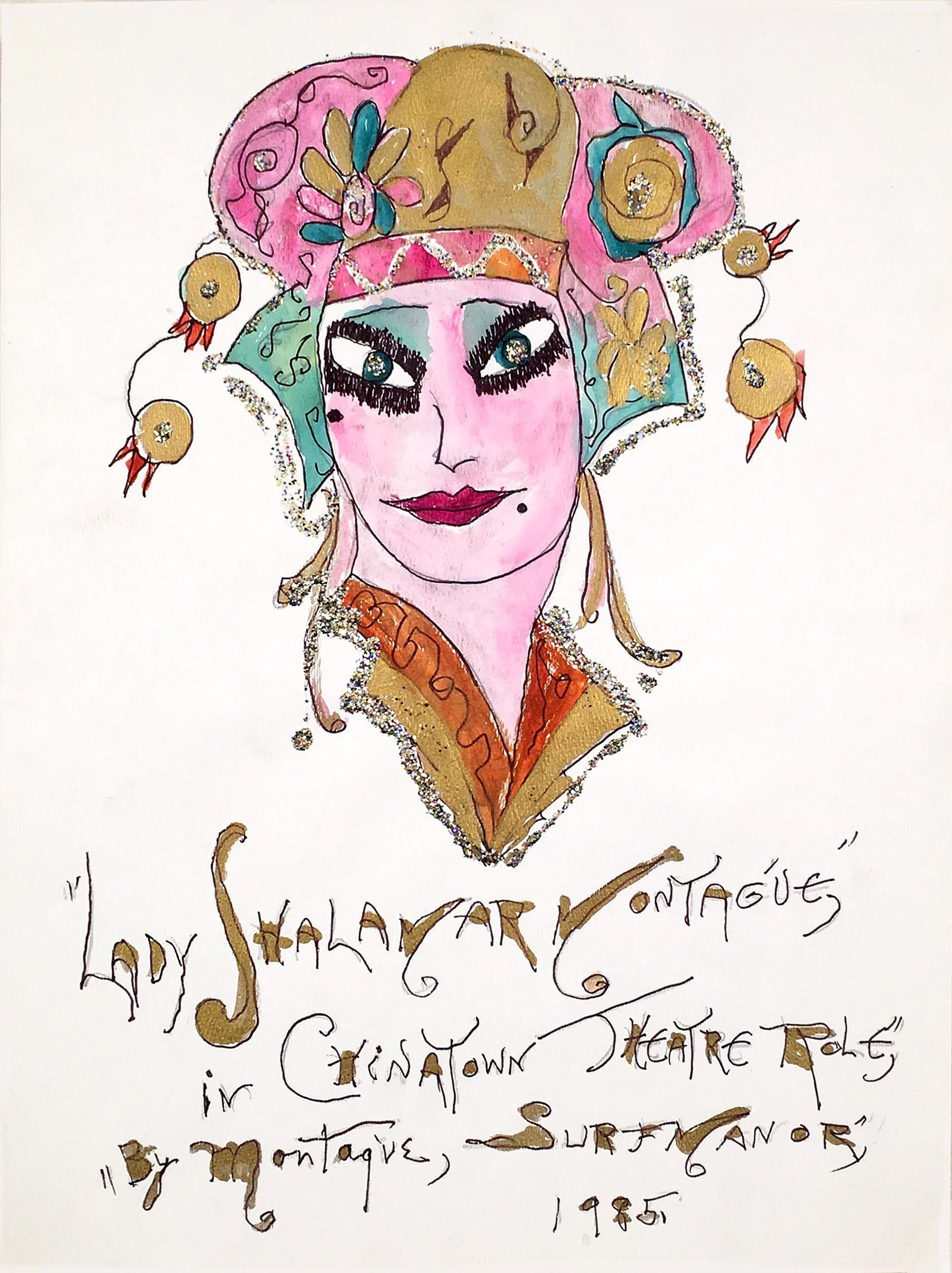 Lady Shalimar Frances Montague Chinatown Theatre Role 1985 watercolor ballpoint glitter on paper