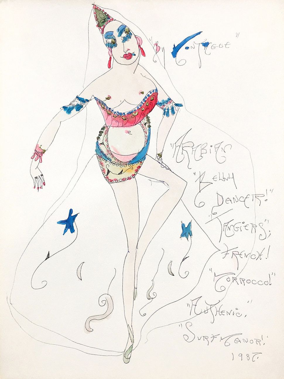 "Lady Shalimar Frances Montague, ""Arabian Belly Dancer Tangiers French Morocco Authentic"" 1987 watercolor ballpoint glitter on"
