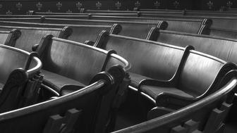 Empty Pews in Church, Black and White
