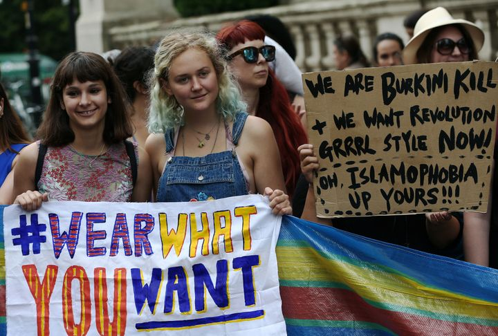 Protesters demonstrate against France's ban of the burkini outside the French Embassy in London on Thursday.