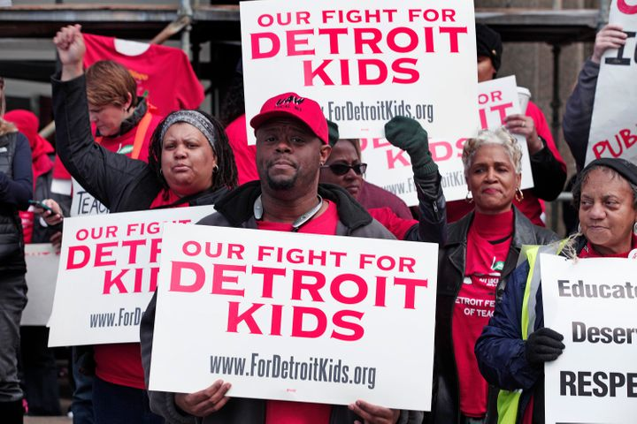 Detroit teachers stage a sick-out in May, 2016.