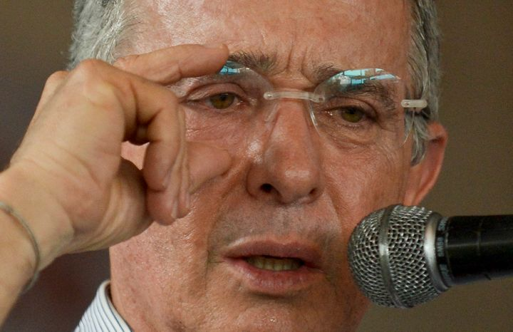 Colombia's former president, Sen. Alvaro Uribe, speaks against the peace talks between the Colombian government and the FARC