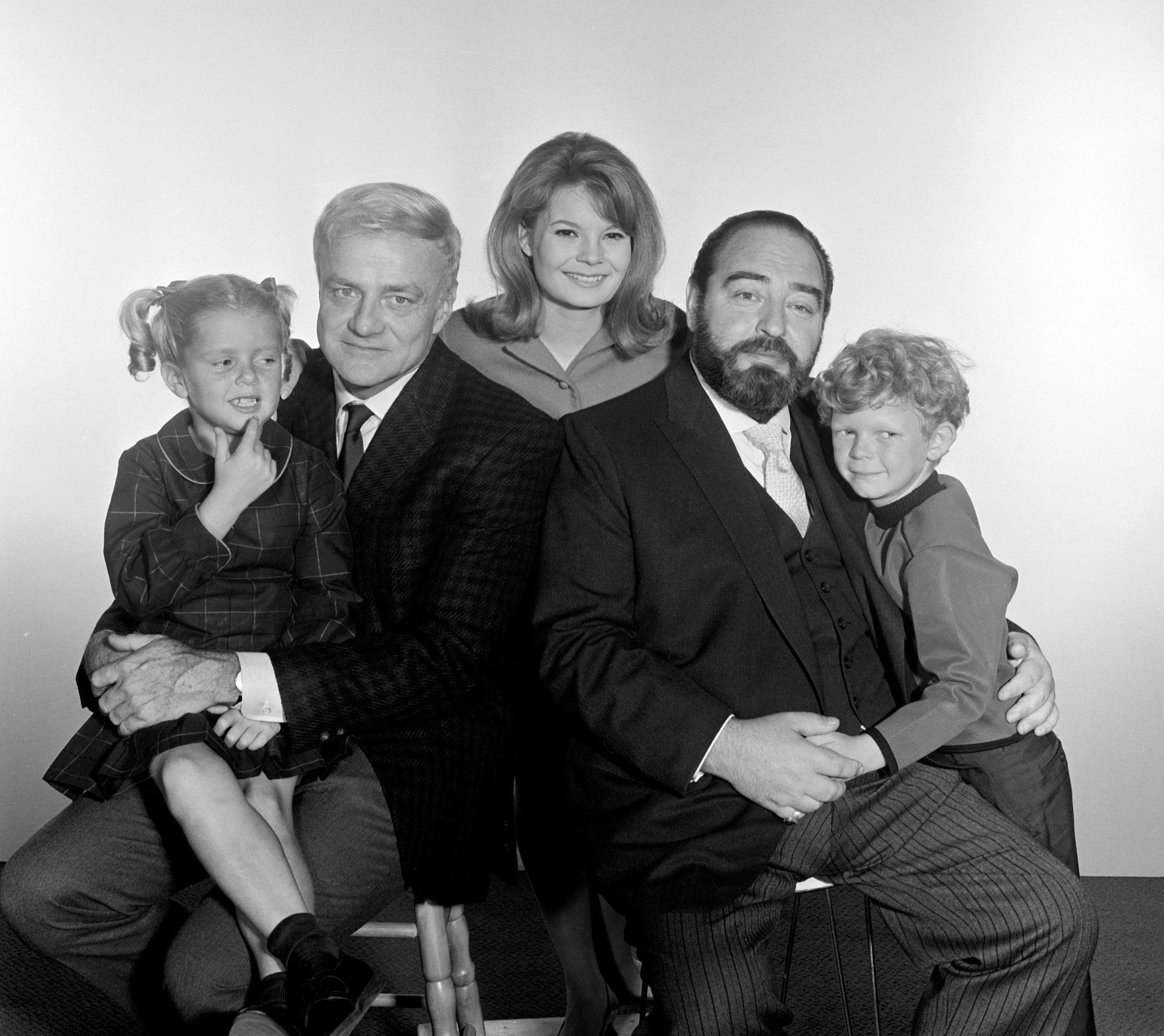 Portrait of the cast of the television series 'Family Affair,' August 10, 1966. Pictured, from left, are American actors Anissa Jones (1958 - 1976) as Buffy, Brian Keith (1921 - 1997) as Bill Davis, and Kathy Garver as Cissy, British actor Sebastian Cabot (1918 - 1977) as Mr. French, and American actor Johnny Whitaker as Jody. (Photo by CBS Photo Archive/Getty Images)