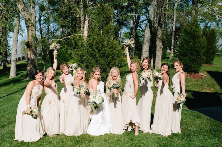 Johnson had a blast with her nine bridesmaids.