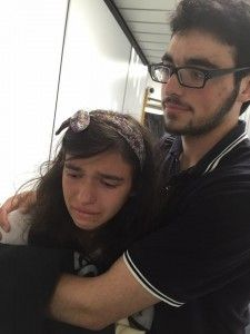 Child with her brother after being escorted off airplane due to her food allergy.
