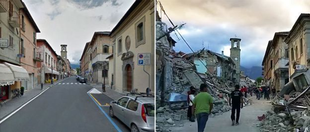 Images showing the city of Amatrice before and after the earthquake