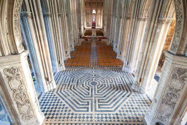 "The labyrinth of Saint Quentin Basilica in France was <a href=""http://www.luc.edu/medieval/labyrinths/st_quentin.shtml"""