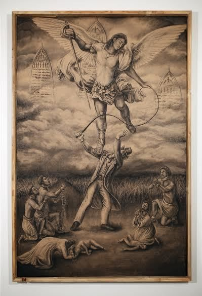 "ST. MICHAEL SLAYS THE SLAVE DRIVER, 2014<br> 64"" X 40"""