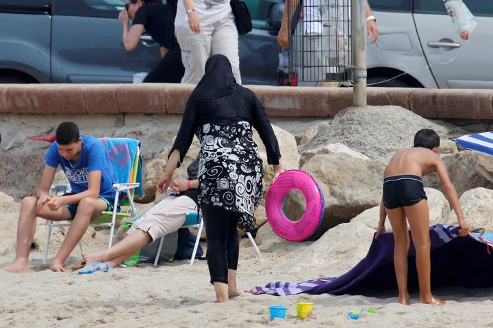 A Muslim woman wears a burkini on a beach in Marseille, France,earlier this month.