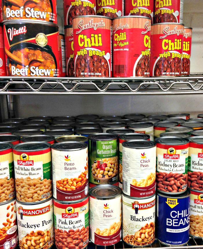 Canned goods at the Lambertville Food Pantry, Lambertville, NJ