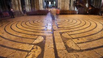 France, Eure-et-Loire, Chartres, Chartres Cathedral, The Labyrinth Symbolizing the Path from Earth Towards God
