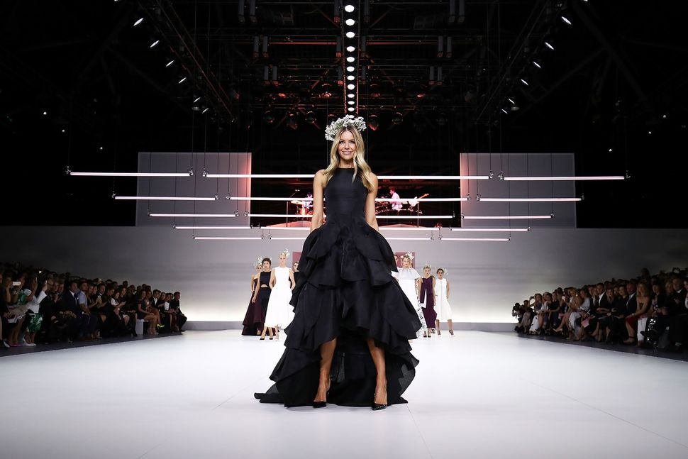 Jennifer Hawkins and models showcase designs by Maticevski during the Myer Spring 16 Fashion Launch at Hordern Pavilion in Sy