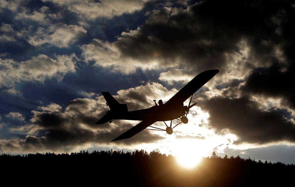 Aviator Frantisek Hadrava pilots Vampira, an ultralight plane based on the U.S. design of light planes called Mini-Max, near