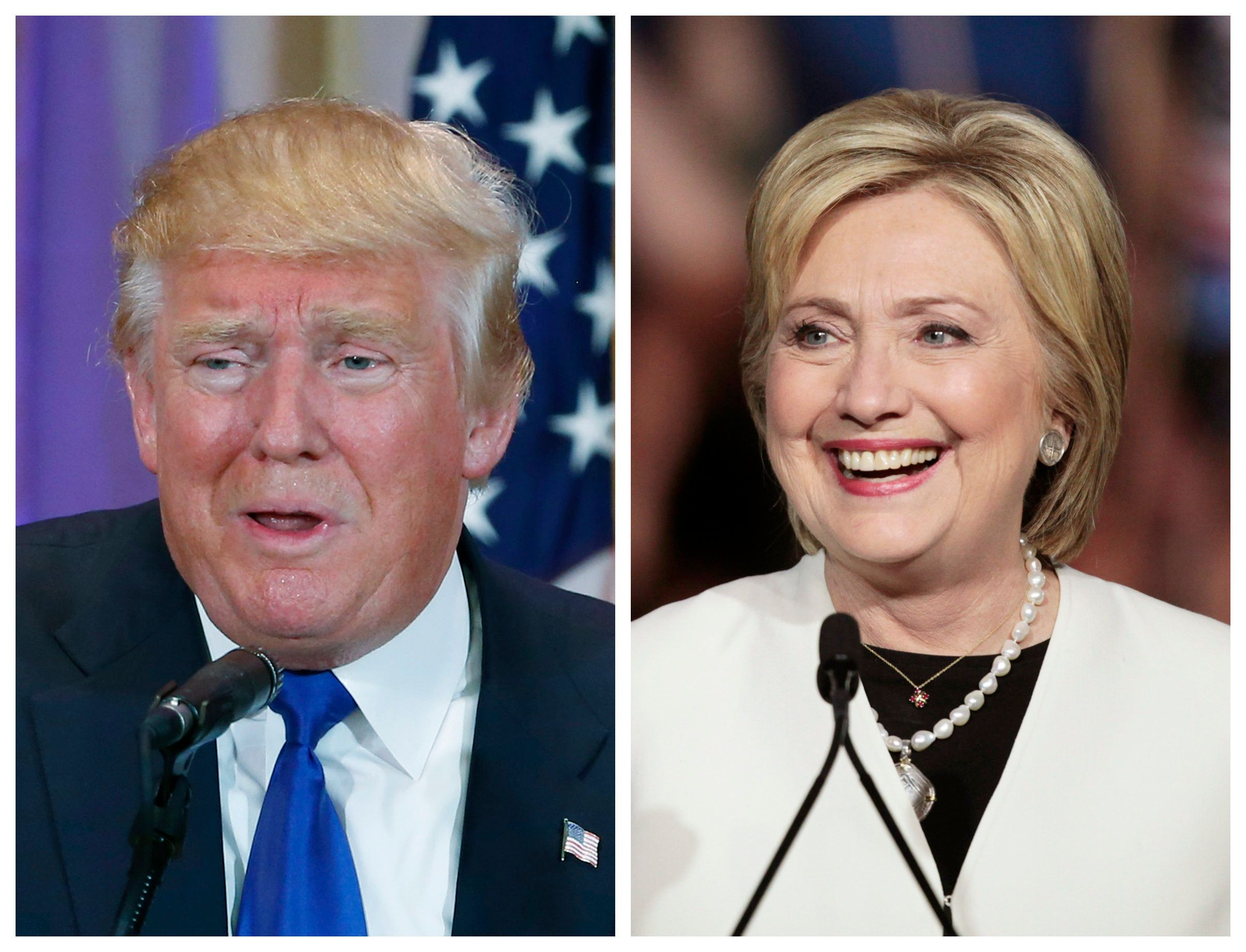 A combination photo shows Republican U.S. presidential candidate Donald Trump (L) in Palm Beach, Florida and Democratic U.S. presidential candidate Hillary Clinton (R) in Miami, Florida at their respective Super Tuesday primaries campaign events on March 1, 2016. Republican Donald Trump and Democrat Hillary Clinton rolled up a series of wins on Tuesday, as the two presidential front-runners took a step toward capturing their parties' nominations on the 2016 campaign's biggest day of state-by-state primary voting.  REUTERS/Scott Audette (L), Javier Galeano (R)