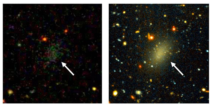 The dark galaxy Dragonfly 44. In the image on the left, the galaxy is visible only as a faint smudge of light. In the long-exposure image on the right, the galaxy is visible as a large elongated object