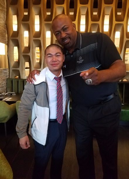 Jimmy Liang with former Boston Red Sox player, Sam Horn, at Fuji at Ink Block