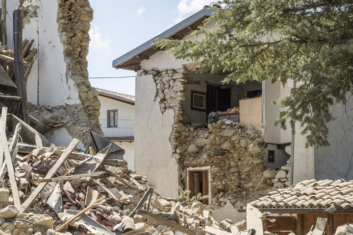 The remains of the house owned by a British couple who died under the rubble, in Italy on August 26, 2016.