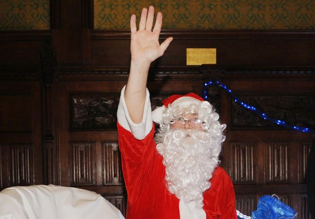 Ed Balls, pictured dressed as Santa Claus, received an unexpected Christmas