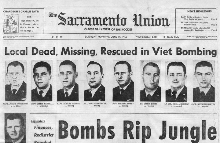 An initial Sacramento Union report of the dead, missing and rescued pilots and crew from the two Mather AFB B-52s that c