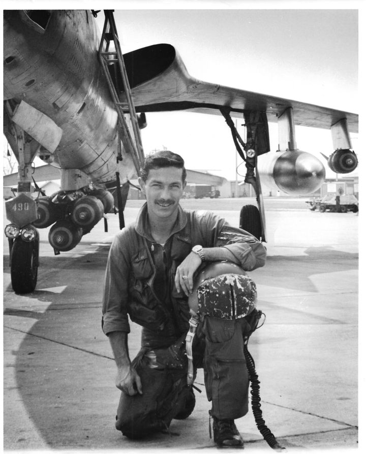 Maj. Don Harten with his F-105 as a member of the 354th Tactical Fighter Squadron, flying out of the Takhli Royal Thai A