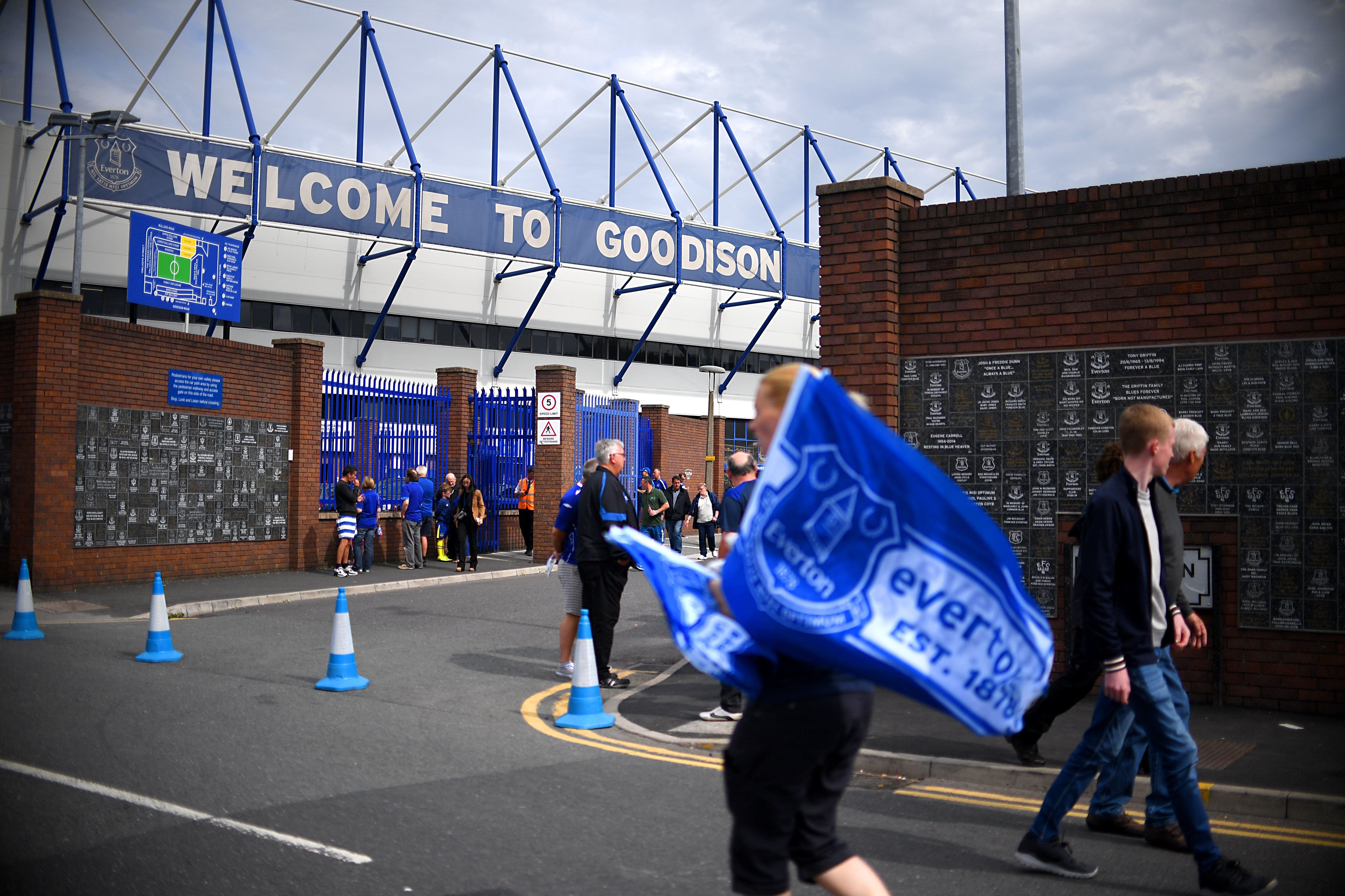 A man, not pictured in this photo of Goodison Park on Saturday, died when he collapsed at the
