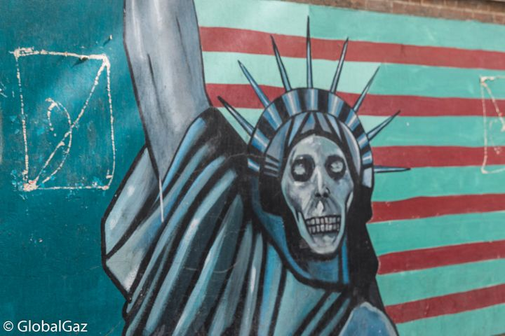 Unwelcoming graffiti at the former site of the US Embassy in Tehran, Iran.
