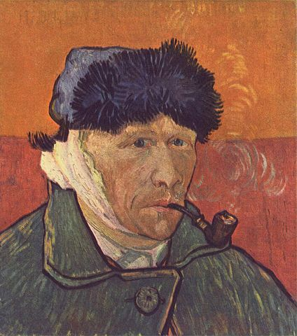 A self-portrait of Vincent van Gogh, the famous painter who possibly suffered from vertigo, nausea, and tinnitus. This topic remains debated.