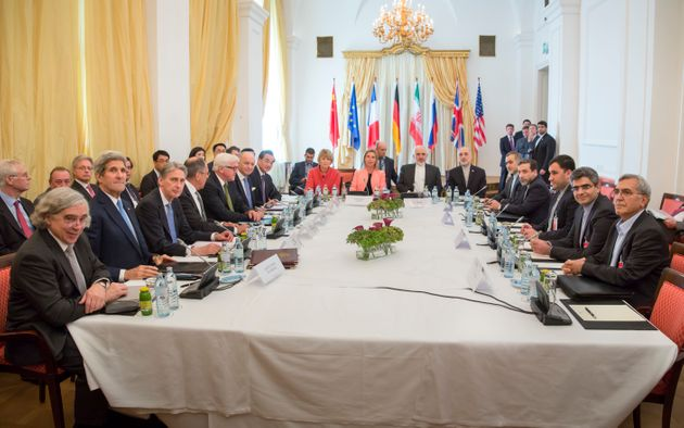 Diplomats attend the nuclear talks between the E3+3 (France, Germany, UK, China, Russia, US) and Iran...