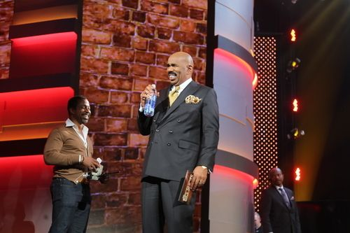 Steve Harvey on the set of NBC's Little Big Shots.