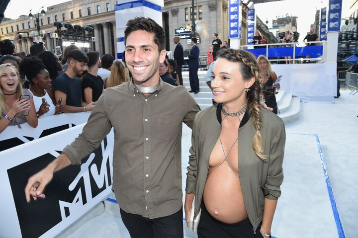 Nev Schulman and Laura Perlongo attend the 2016 MTV Video Music Awards on August 28, 2016 in New York City.