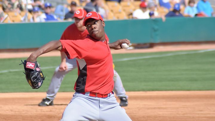 Aroldis Chapman Delivers a Fastball for the Cincinnati Reds in 2010