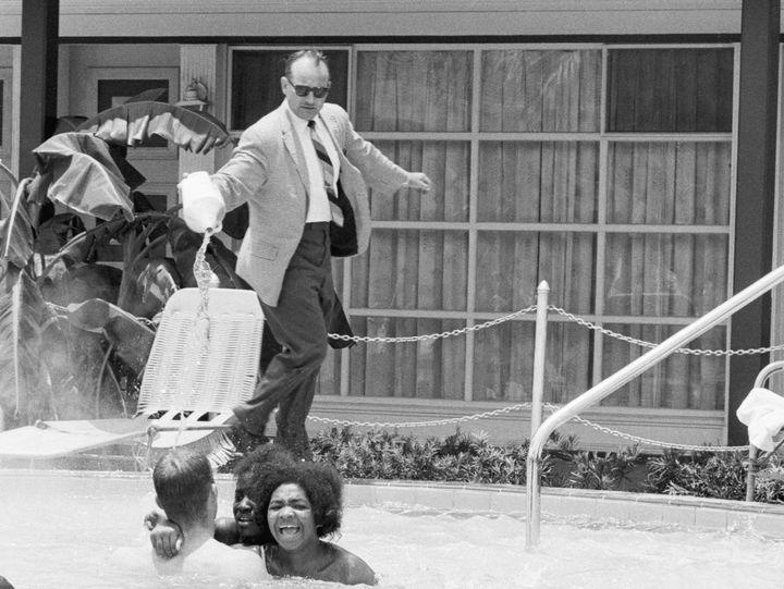 James Brock throwing acid on black swimmers at a Florida pool
