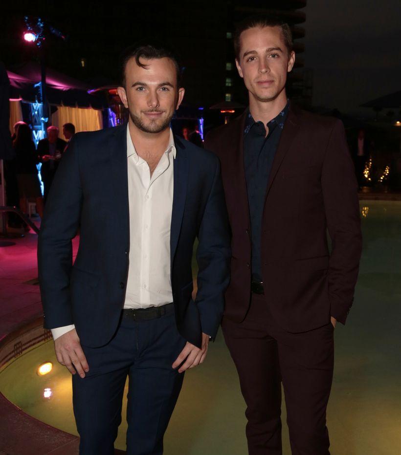 Benjamin Kruger (left) and associate, Luke O'sullivan (right) at Hilton & Hyland's summer soiree in Beverly Hills, CA.
