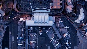 Airliners at  gates and Terminals at JFK,NY