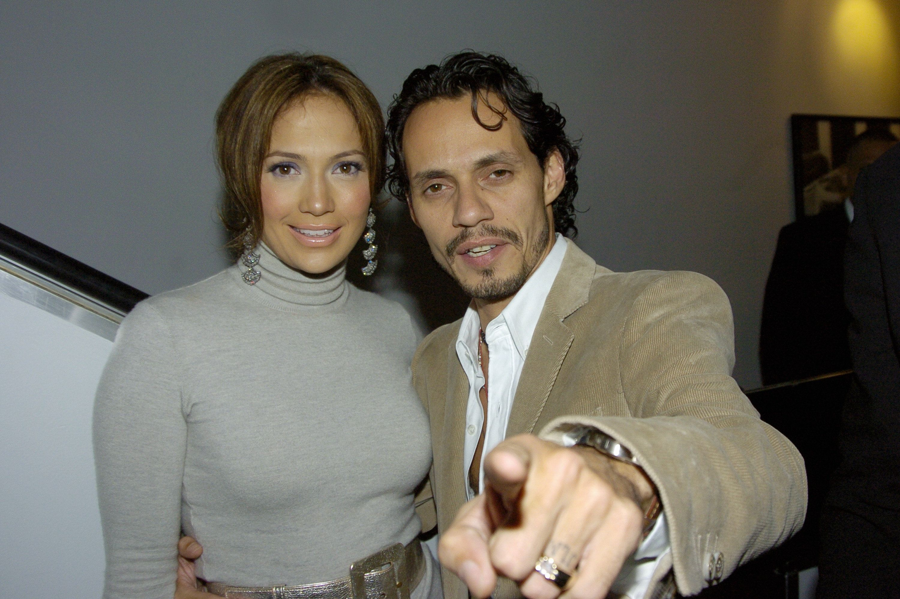 UNITED STATES - CIRCA 2002:  Jennifer Lopez and husband Marc Anthony are on hand for the premiere of 'An Unfinished Life' at the Directors Guild of America Theatre on W. 57th St. She stars in the film.  (Photo by Richard Corkery/NY Daily News Archive via Getty Images)