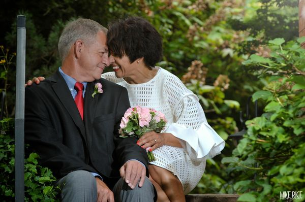 """""""Fran and Brian tied the knot in the gardens of the Whitegate Inn and Cottage in Asheville, North Carolina."""" -- <i>Mike Rice<"""