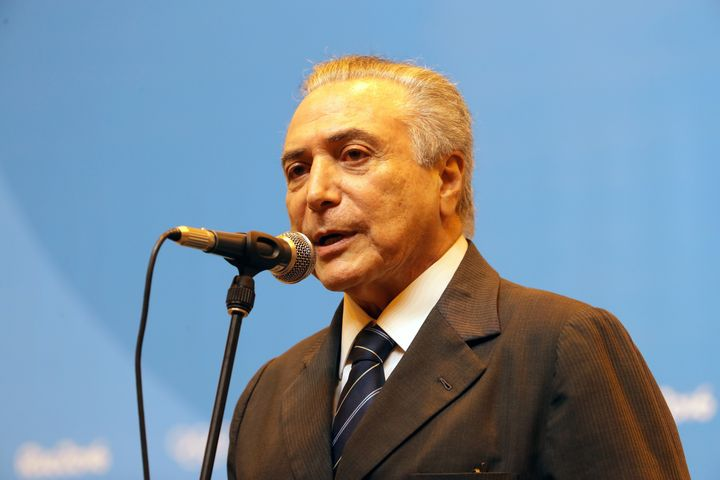 Vice President of Brazil Michel Temer speaks to the media at the Main Press Centre on Day 13 of the Rio 2016 Olympic games on