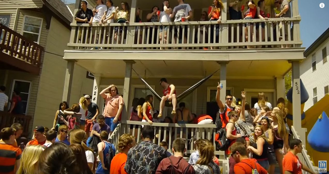 A scene from the Mifflin Block party at UW Madison in 2015.