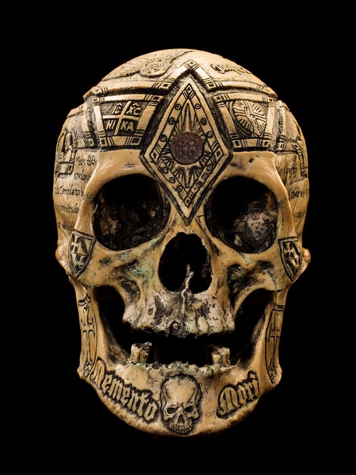 <strong>Head of the Templars</strong> Wylie calls this piece his Jacques de Molay tribute skull. Molay was the last known gra