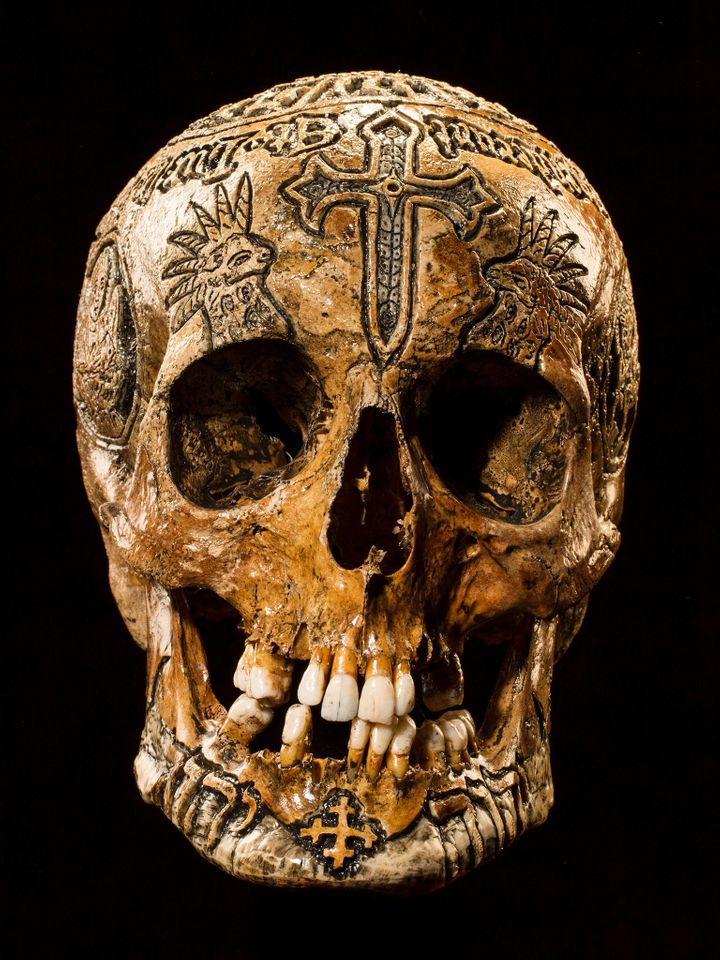 <strong>Lamb of God</strong> This piece is called the 7-Horned Lamb of God skull. According to Wylie, the carving was inspire