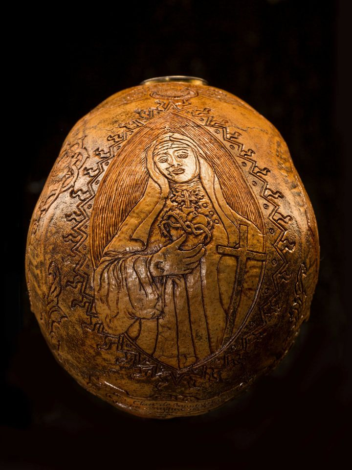 <strong>Holy Heart</strong> Carvings on this skull pay tribute to Saint Clare de Montefalco, a Catholic abbess who lived in I