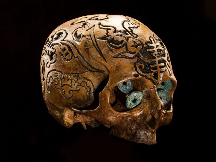 <strong>Wealth of Meaning</strong> This skull, decorated with Chinese symbols for luck and prosperity, includes old Asian coi