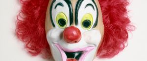 CLOWN CLOWNS MASK CUT OUT DISGUISE DRESSING UP ARTS CULTURE AND ENTERTAINMENT FANCY DRESS COSTUME HUMAN REPRESENTATION MASK NO PEOPLE RED SINGLE