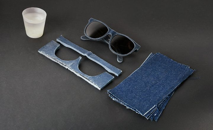 Frames are cut out of the solid denim with computer-controlled machinery.
