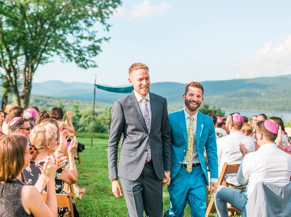 """""""MarkandBrendan! Your ceremony was beautiful. The Catskills, the pink kippots. Yes and please!"""" -- <i>Paul</i>"""