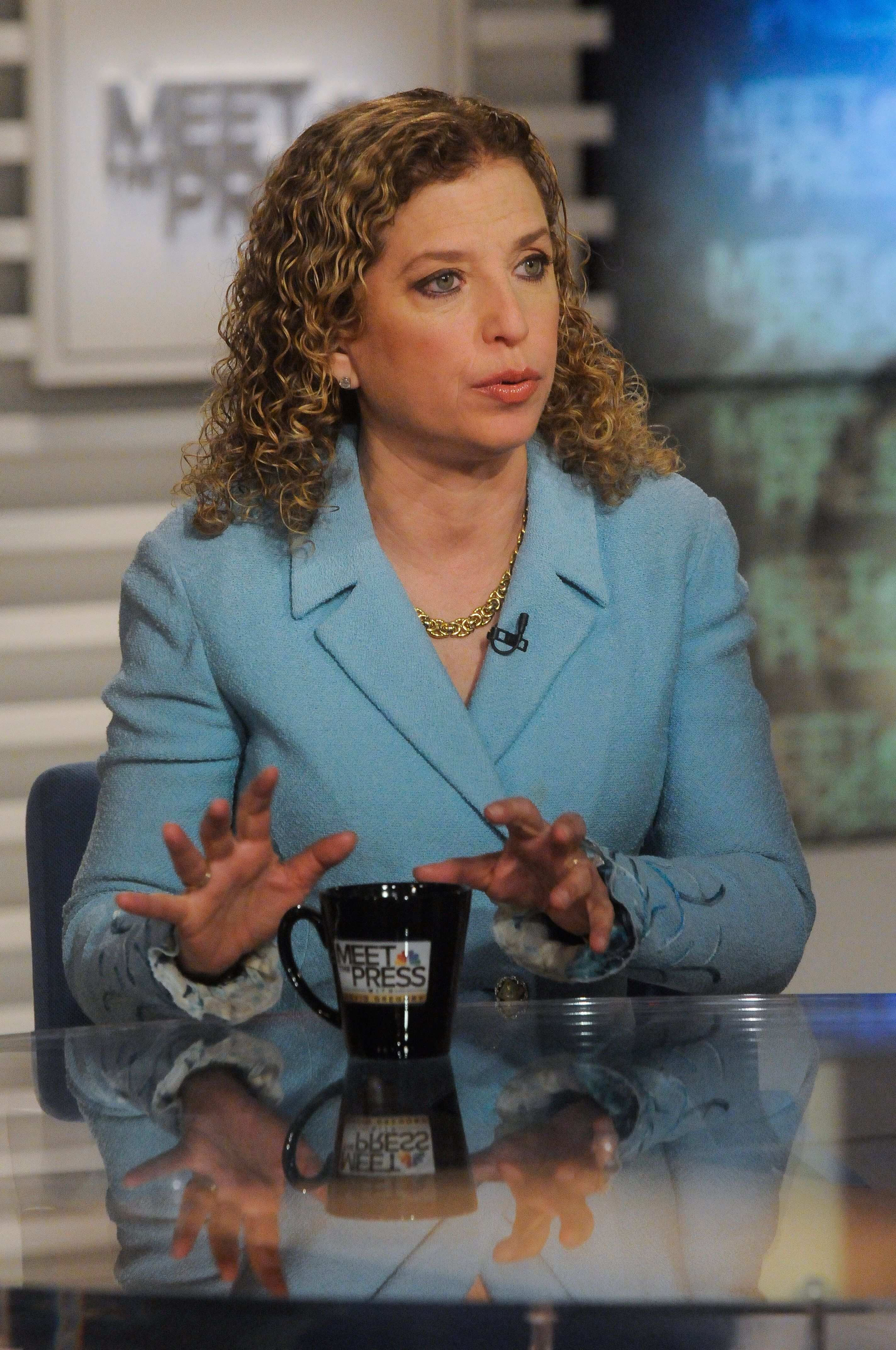 MEET THE PRESS -- Pictured: (l-r)  Rep. Debbie Wasserman Schultz (D-FL) Chair, Democratic National Committee, appears on 'Meet the Press' in Washington, D.C., Sunday Dec. 27, 2015.  (Photo by: William B. Plowman/NBC/NBC NewsWire via Getty Images)